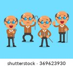 cartoon old man character poses | Shutterstock .eps vector #369623930