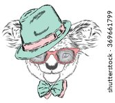 cute koala in a cap and a tie.... | Shutterstock .eps vector #369661799
