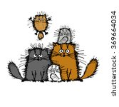 fluffy cats family  sketch for... | Shutterstock .eps vector #369664034
