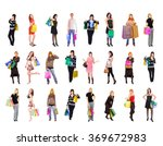 crowd of shoppers isolated... | Shutterstock . vector #369672983