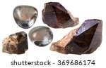 Small photo of macro shooting of collection natural rock - set of morion (smoky quartz) crystals and gem mineral stones isolated on white background