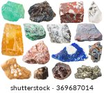 Small photo of calcite, lamprophyllite, jasper, rock-crystal, Fuchsite, magnesite, ferruginous quartzite, granitic gneiss, lazurite, galena, flint, morion, Tourmaline Dravite, pyrite gem stones isolated on white