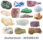 Small photo of many natural rocks and stones - lazurite, bauxite, eudialyte, alunite, schist, malachite, pyrite, quartz, aventurine, celestine, celestite, calcite, marble gem stones isolated on white background