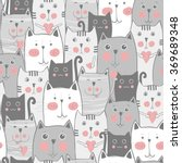 Stock vector grey cats seamless pattern 369689348