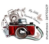 vintage hand drawn camera with... | Shutterstock .eps vector #369702629