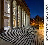 Stock photo college library at night 369717266
