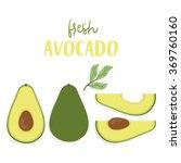 cute set with cartoon avocado... | Shutterstock .eps vector #369760160