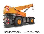 Mobile Crane Isolated On White...