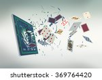 tablet pc with a poker app and lot of poker cards coming out by breaking the glass, concept of online gaming (3d render) - stock photo