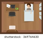 young man sleeping in bed with... | Shutterstock .eps vector #369764630