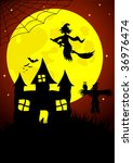 halloween background with old... | Shutterstock . vector #36976474