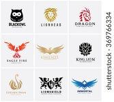 animal logo set  lion  dragon ... | Shutterstock .eps vector #369766334