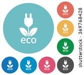 flat eco energy icon set on...