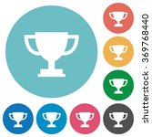 flat trophy cup icon set on...