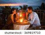 romantic couple have dinner...