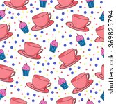 cups and cupcakes seamless... | Shutterstock .eps vector #369825794