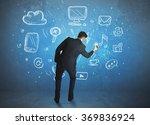 businessman drawing a media... | Shutterstock . vector #369836924