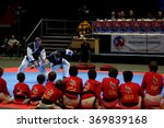Small photo of ST. PETERSBURG, RUSSIA - OCTOBER 17, 2015: Demonstration performance of St. Petersburg Hapkido Federation during the martial arts festival Baltic Sea Cup in Sibur Arena
