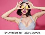 the girl eats sweets  desserts  ... | Shutterstock . vector #369860906