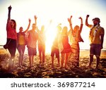 teenagers friends beach party... | Shutterstock . vector #369877214