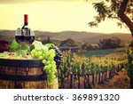 red wine with barrel on... | Shutterstock . vector #369891320