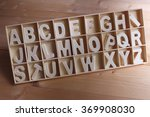 english alphabet set in wooden... | Shutterstock . vector #369908030