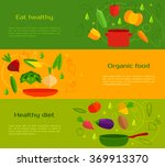vegetables  plates and dishes.... | Shutterstock .eps vector #369913370