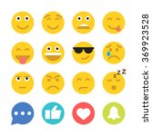set of emoticons and social... | Shutterstock .eps vector #369923528