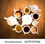 sorts of tea in the cups and...   Shutterstock . vector #369949586