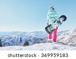 back view of female snowboarder ... | Shutterstock . vector #369959183