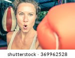woman hitting with punch on... | Shutterstock . vector #369962528