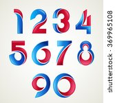 numbers set of  blue and red... | Shutterstock .eps vector #369965108