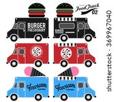 vector set of food truck | Shutterstock .eps vector #369967040