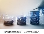 Stock photo double exposure of city and rows of coins for finance and banking concept 369968864
