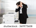 irritated young businesswoman... | Shutterstock . vector #369975608