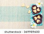 handmade heart shape cookies on ... | Shutterstock . vector #369989600