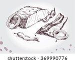 beef steak   barbecue with... | Shutterstock .eps vector #369990776