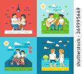 flat design dating couple set... | Shutterstock .eps vector #369995669