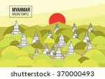 bagan temple at sunrise.... | Shutterstock .eps vector #370000493