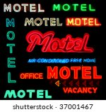 collage of motel neon signs... | Shutterstock . vector #37001467