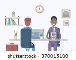 two business man report... | Shutterstock .eps vector #370015100