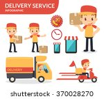 delivery service. vector flat...   Shutterstock .eps vector #370028270