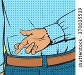 crossed fingers gesture pop art ... | Shutterstock .eps vector #370035539