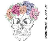 skull wearing a crown of... | Shutterstock .eps vector #370045229