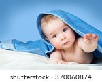 Stock photo cute baby in a towel 370060874