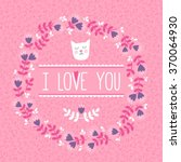 pink flat card with cute cat in ... | Shutterstock .eps vector #370064930