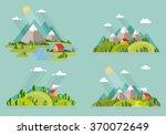 summer  landscape set. houses... | Shutterstock .eps vector #370072649
