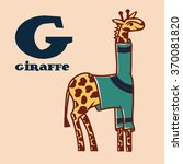 cartoon giraffe in pullover... | Shutterstock .eps vector #370081820