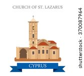 Church of St Lazarus in Larnaca  Cyprus. Flat cartoon style historic sight showplace attraction web site vector illustration. World countries cities vacation travel sightseeing collection.