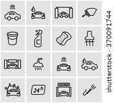 vector line car wash icon set. | Shutterstock .eps vector #370091744